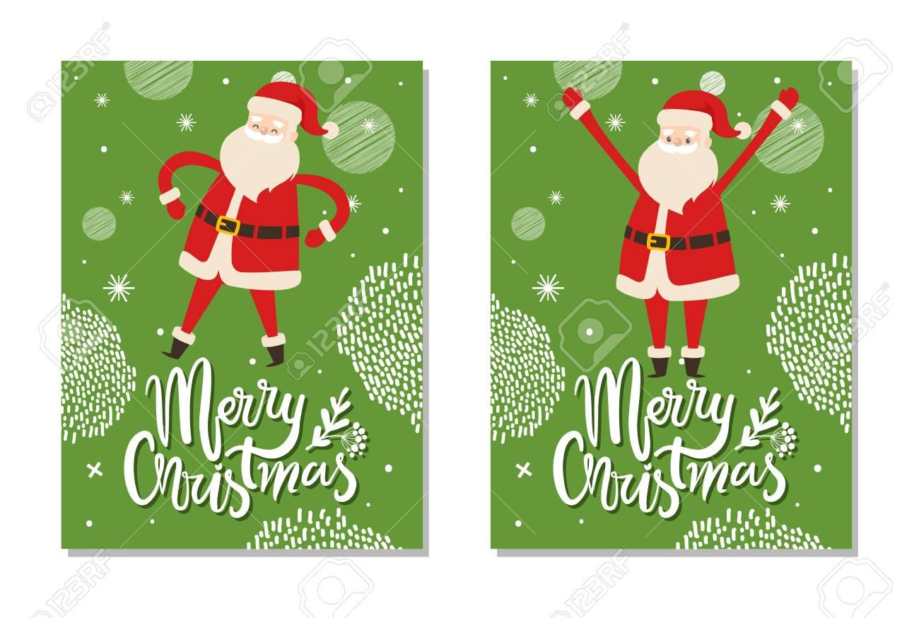 Christmas Postcards.Merry Christmas Postcards Santa Claus Winter Holidays Symbol