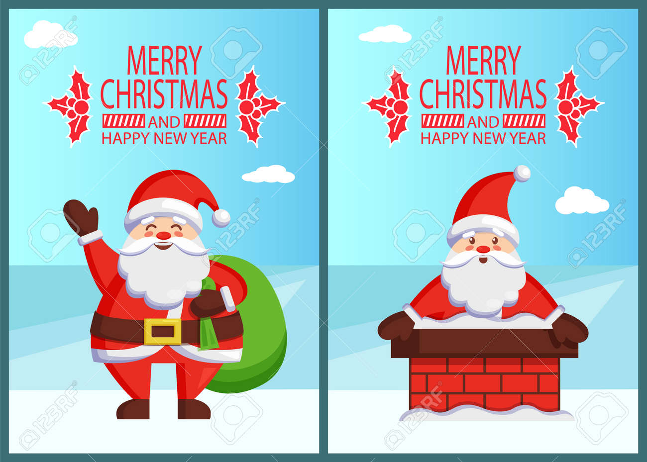 5f40e62a669d6 Feliz Navidad Feliz año nuevo póster inscripción con muérdago Santa y el  bolso con regalos Claus