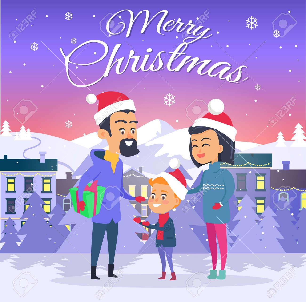 Buon Natale Famiglia.Vettoriale Cartolina Con Buon Natale Sullo Sfondo Della Citta