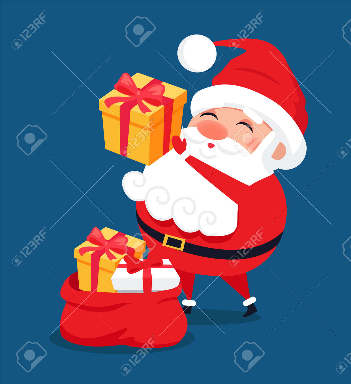 Father Christmas Images Free.Merry Santa Claus Put Presents Into Red Bag Father Christmas