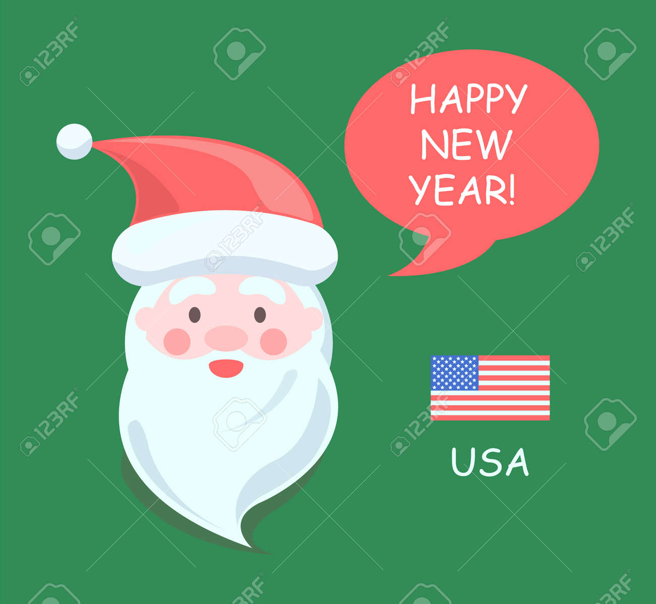 usa santa claus greeting people happy new year man wearing red hat and has long