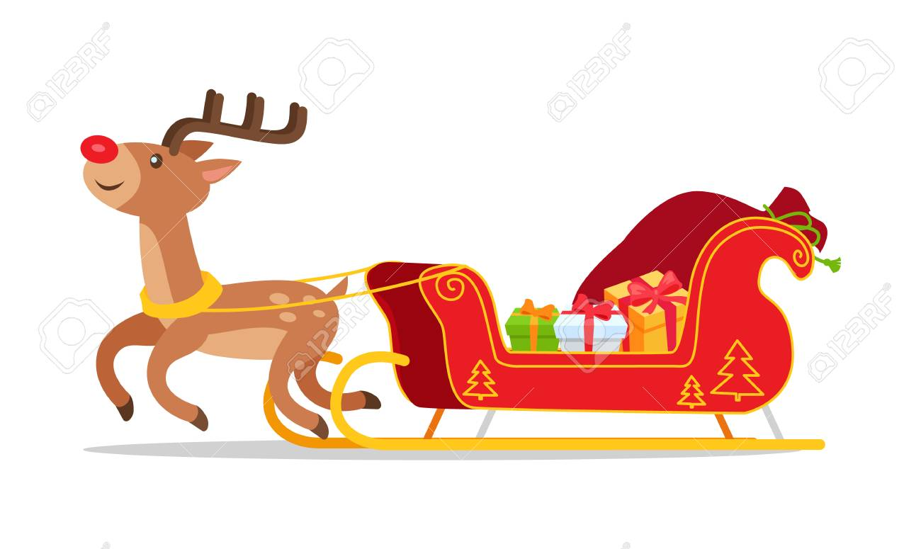Reindeer And Christmas Sleigh With Presents Vector Isolated On Royalty Free Cliparts Vectors And Stock Illustration Image 92421565