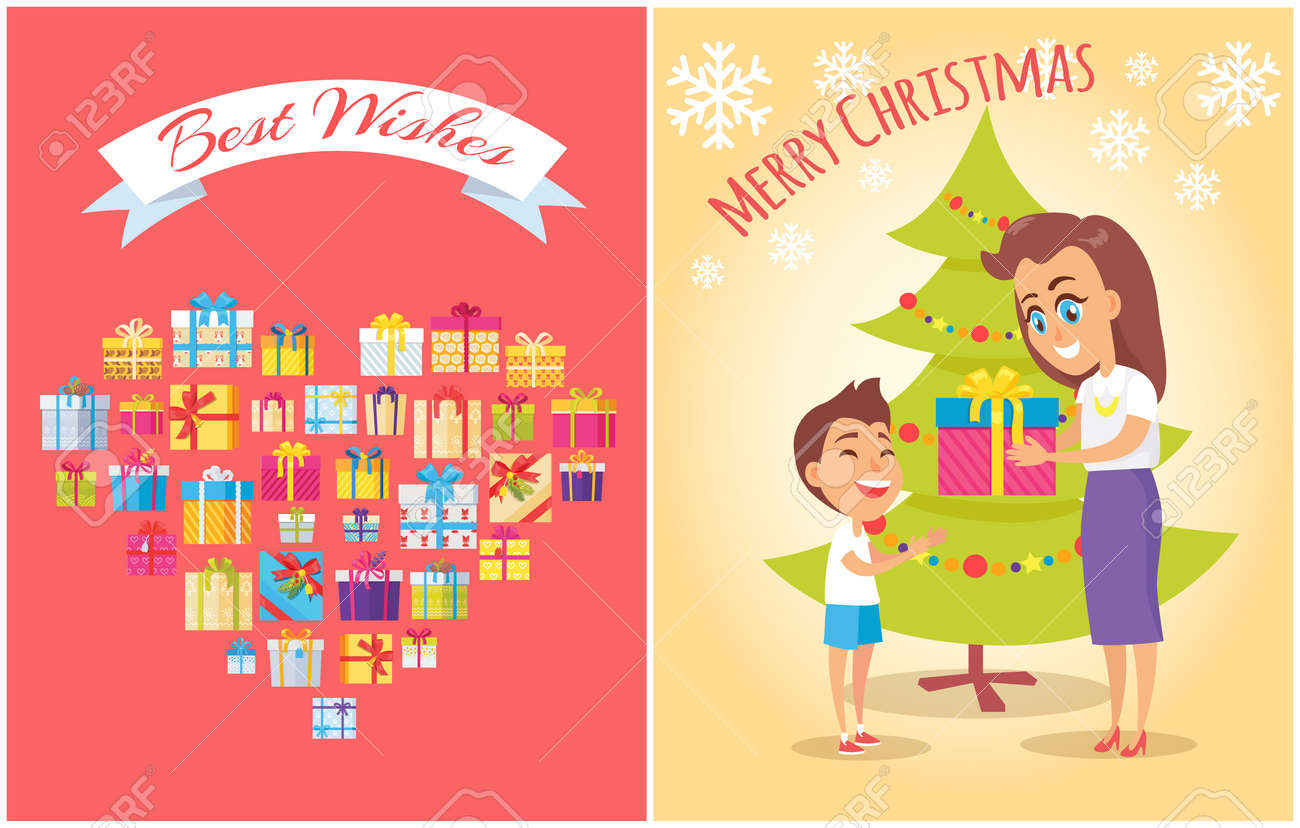 Best Wishes And Merry Christmas Posters Heart Made Of Gifts