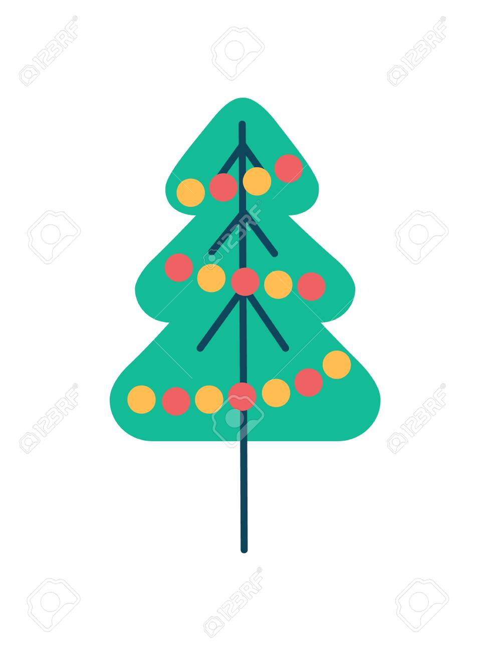 new year tree icon with color balls garland vector royalty free cliparts vectors and stock illustration image 93560001 123rf com