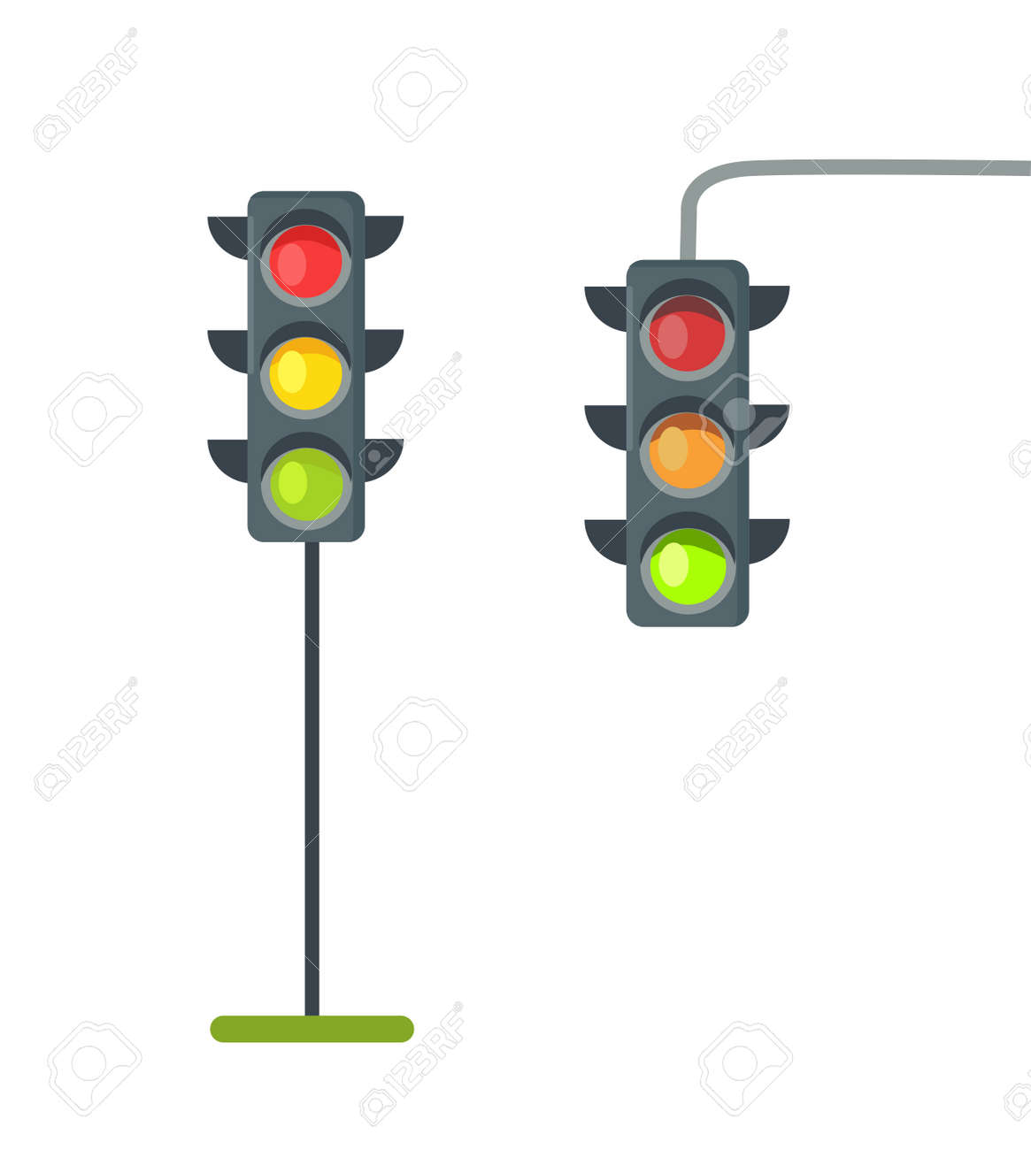 Icons of Traffic Lights Isolated Vector on White - 93655727
