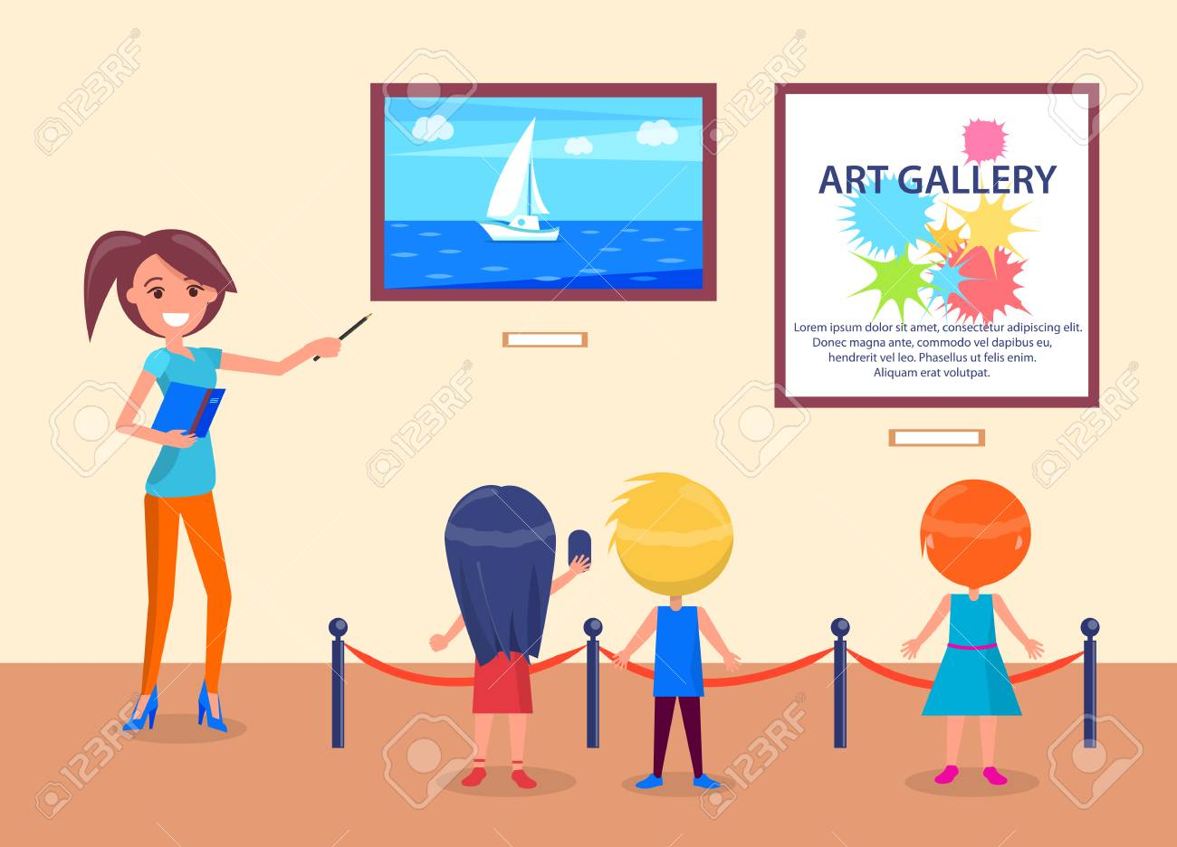 Art gallery excursion for school kids back view with guide. Woman pointing on sea with sailboat, children listen attentively to teacher vector illustration - 93701477