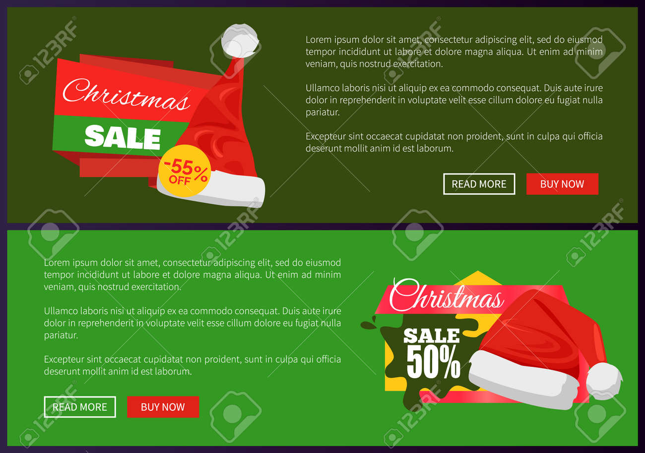 Christmas Ads.Set Of Christmas Ads Posters Vector Illustration