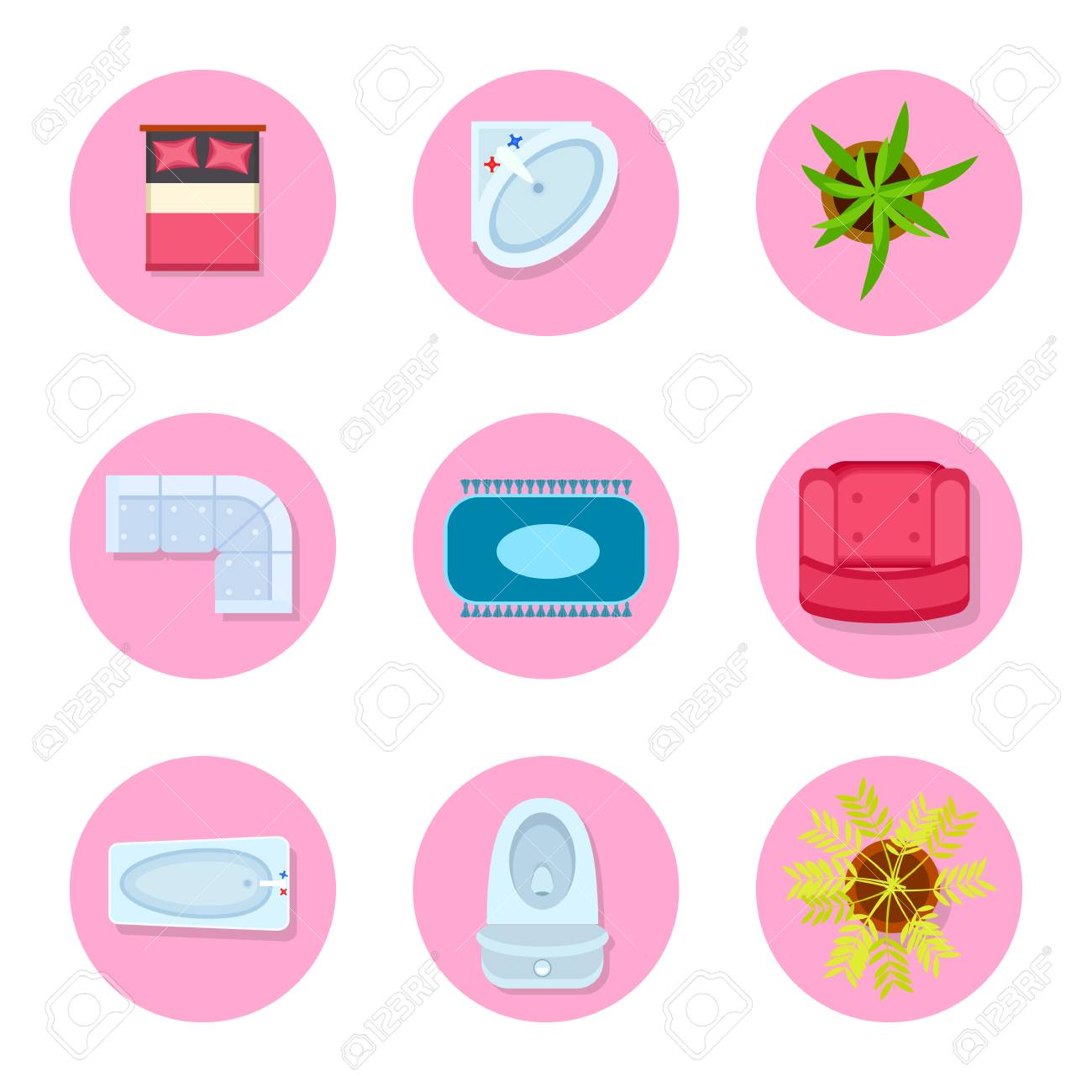 Icon Set On Flat Design Theme Representing Objects That Are Usually ...