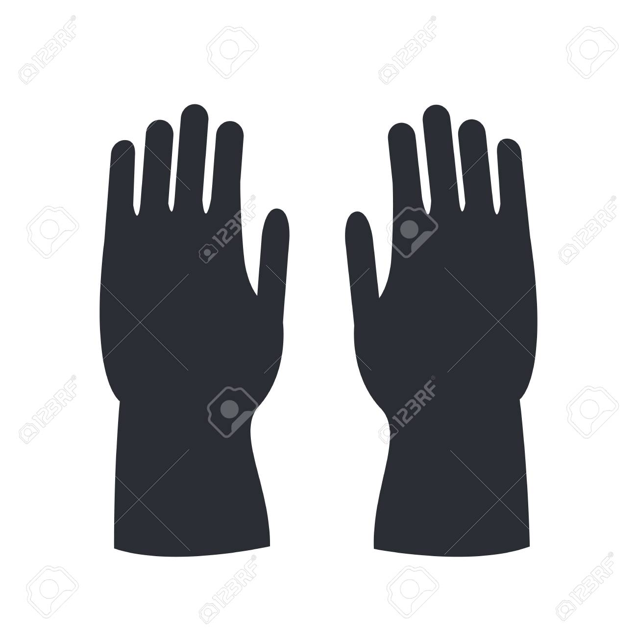 fire protective rubber gloves silhouette isolated on white human