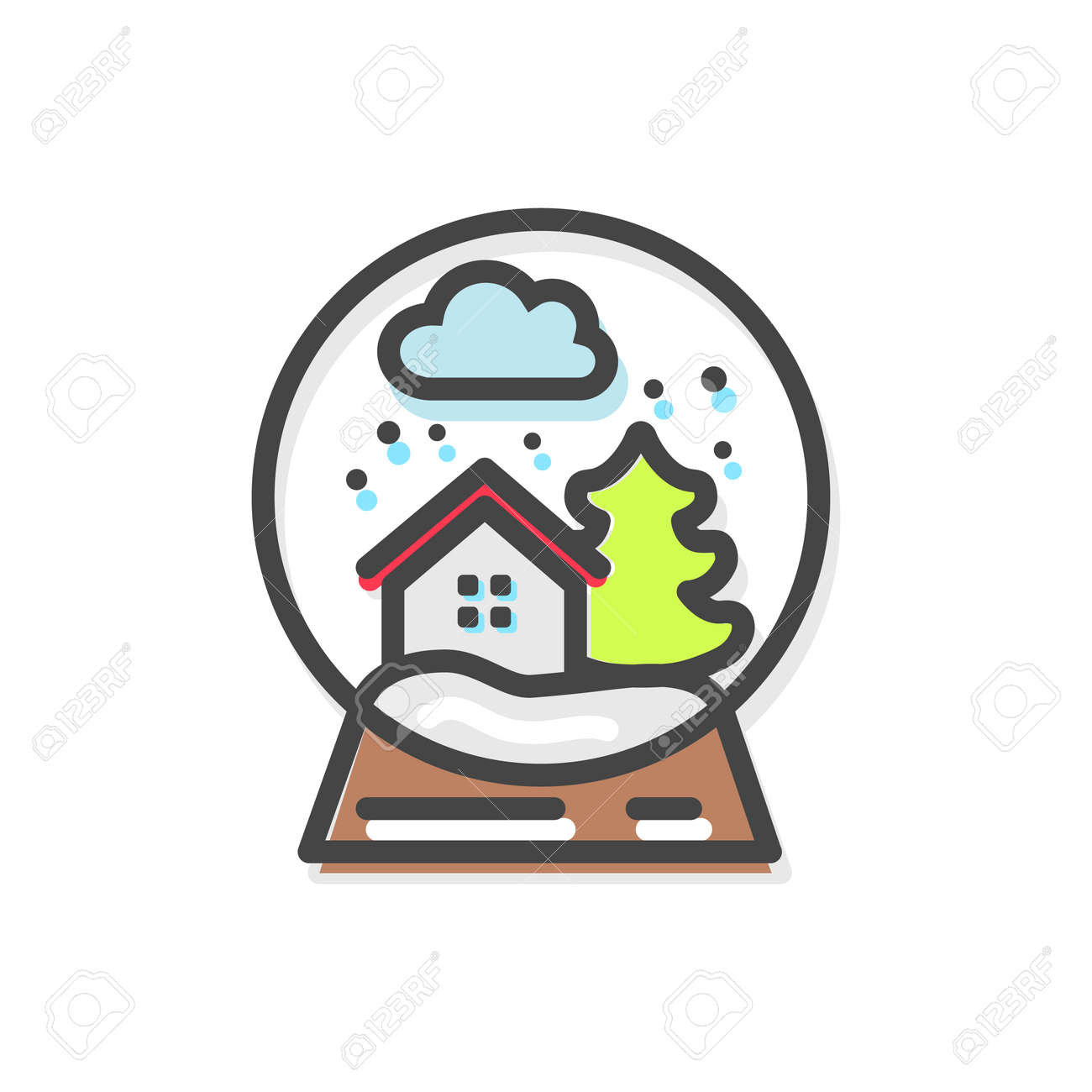 Snow Globe With Elements Of Christmas Evergreen Pine Tree And