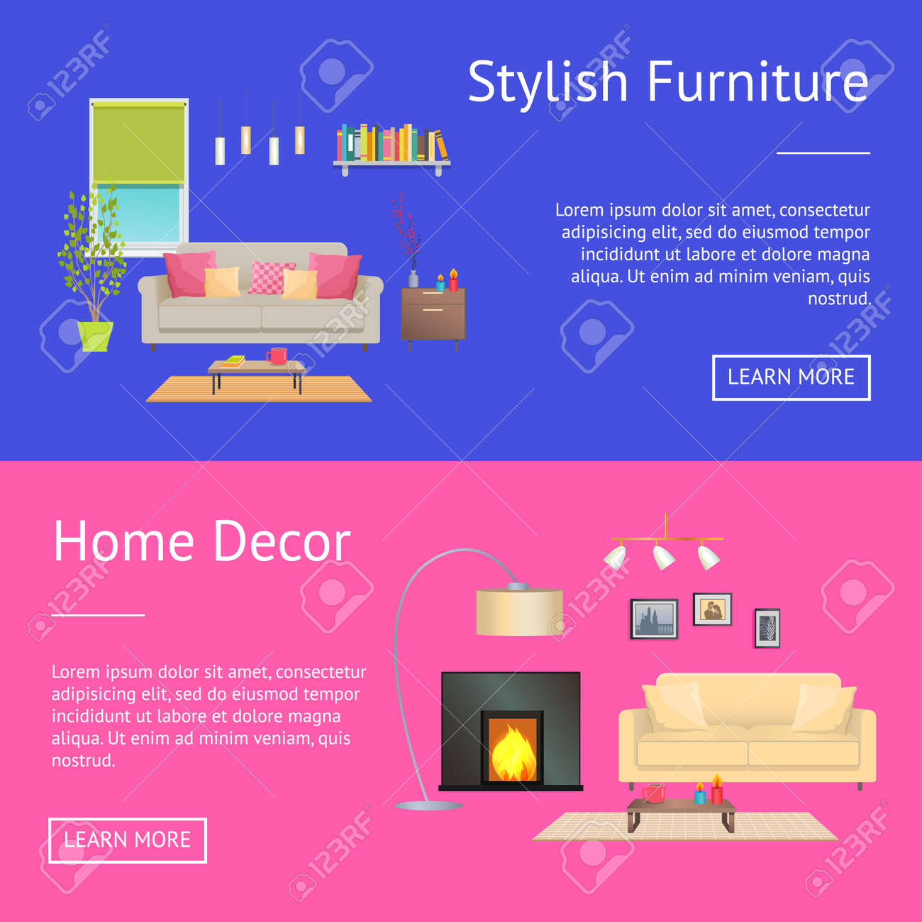 Stylish Furniture And Home Decor Web Pages Collection With Headlines And  Text Sample, Buttons And