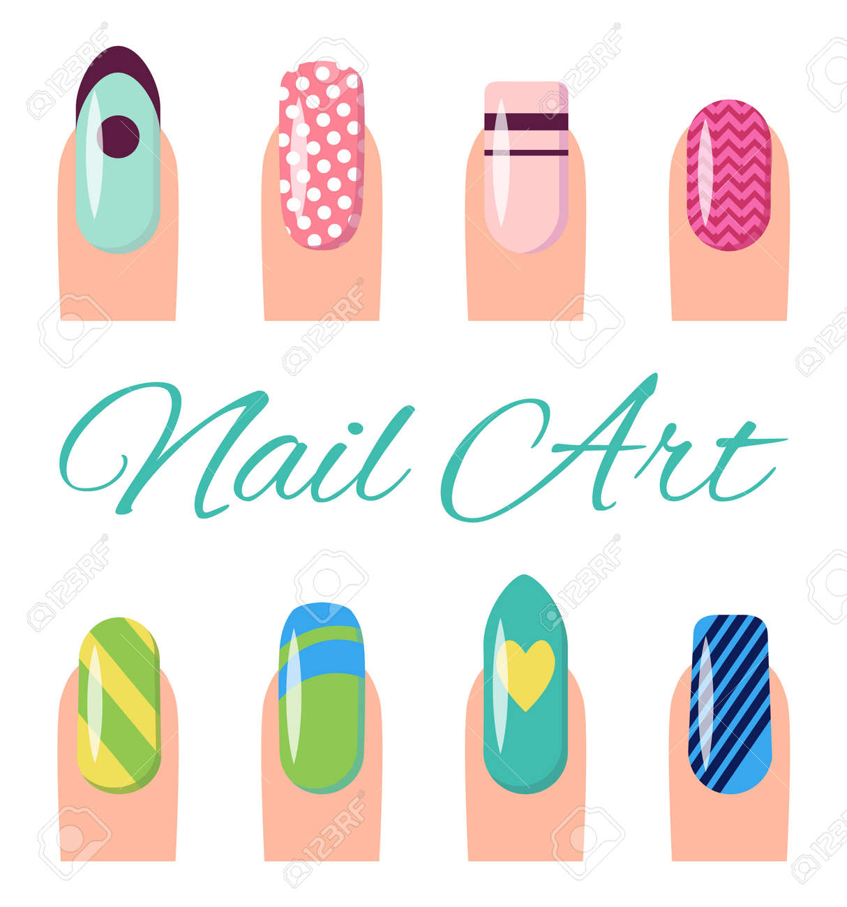 Nail Art Collection, Poster With Different Styles And Types Of ...