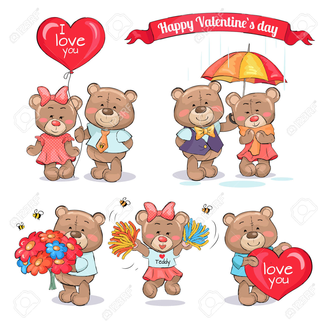 Happy Valentines Day Teddy Bears Who Hold Big Balloon Colorful