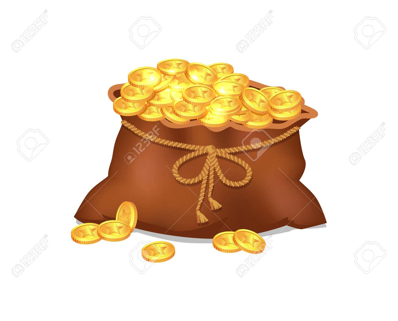 Treasure Coins in Brown Bag Vector Illustration - 95373540