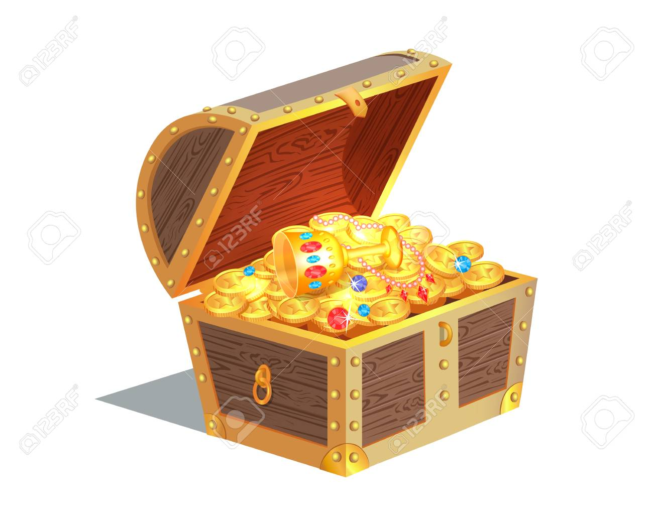 Beautiful Treasure Chest Vector Illustration - 96233296
