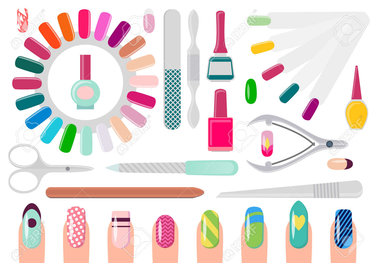 Manicure Service Equipment And Decorated Nails Royalty Free Cliparts ...
