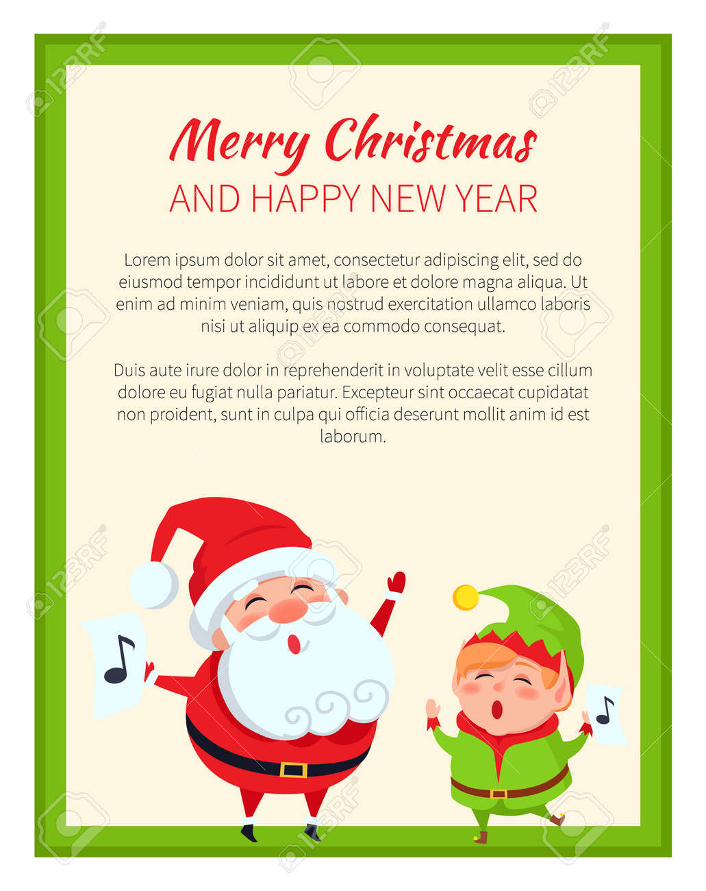 Merry Christmas Happy New Year Cute Elf And Santa On White Poster ...