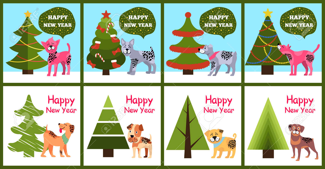 Happy New Year Greetings From Cartoon Dogs Standing Near Decorated