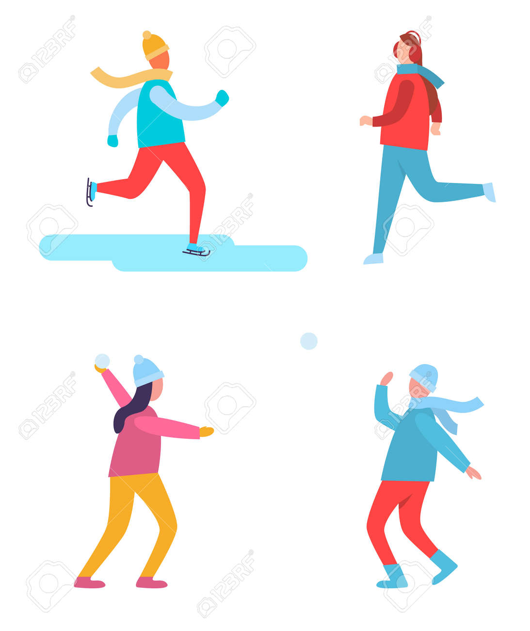 18e95e3c53 ... together vector illustration. Peoples winter activities