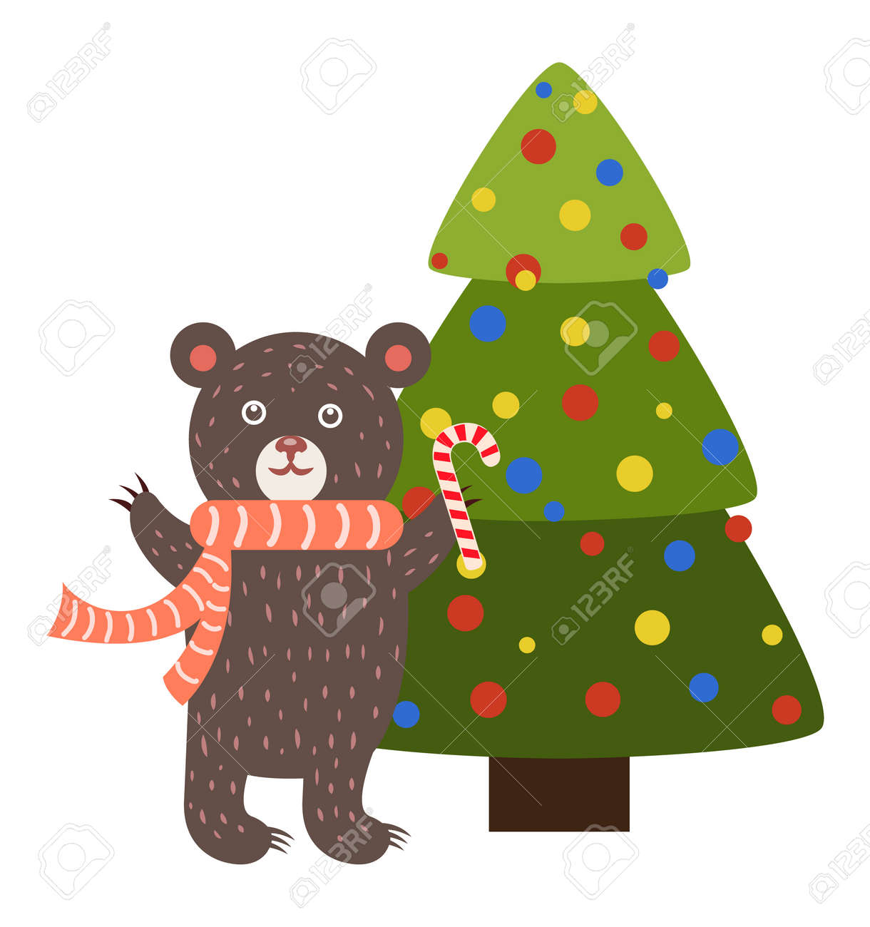 Greeting card with cartoon bear with candy stick stands near greeting card with cartoon bear with candy stick stands near decorated by color balls christmas tree m4hsunfo
