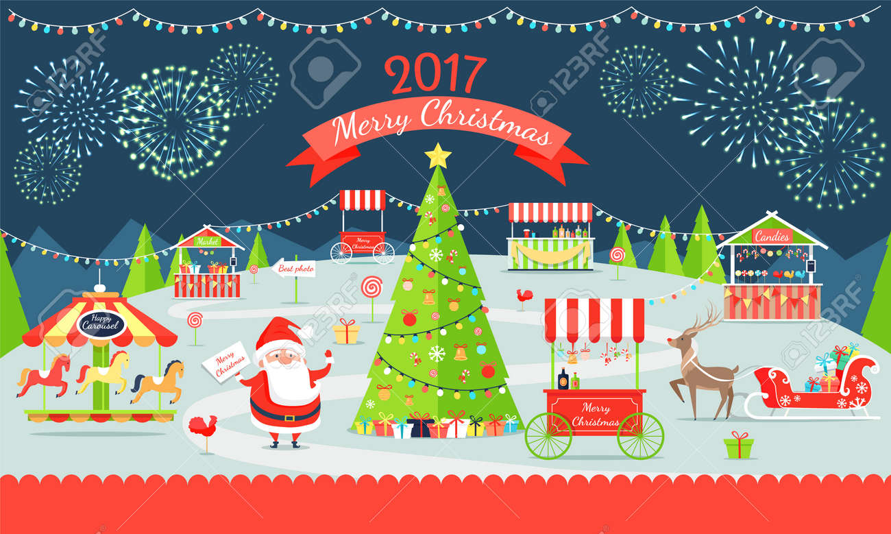 Merry Christmas Poster Representing Market With Santa Claus