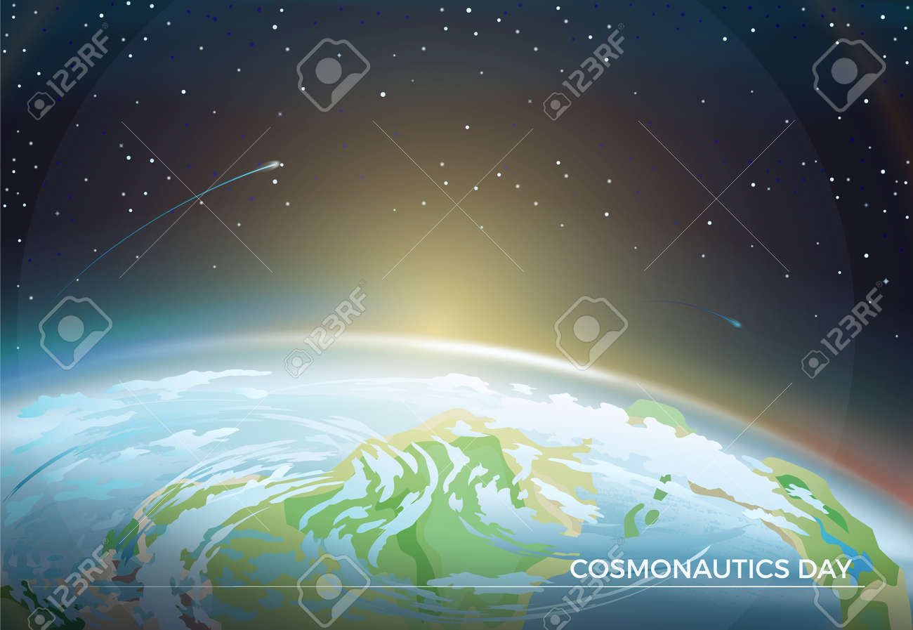 Cosmonautics Day themed poster with Earth part and bright Sun on horizon among bright stars in dark endless sky cartoon flat vector illustration. - 98628119