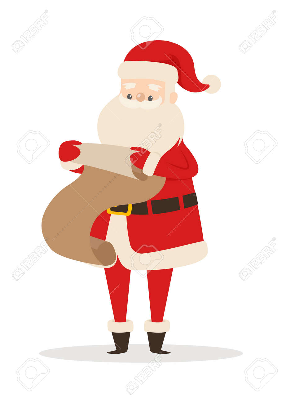 Father Christmas Cartoon Images.Santa Claus With Wish List Isolated On White Father Christmas