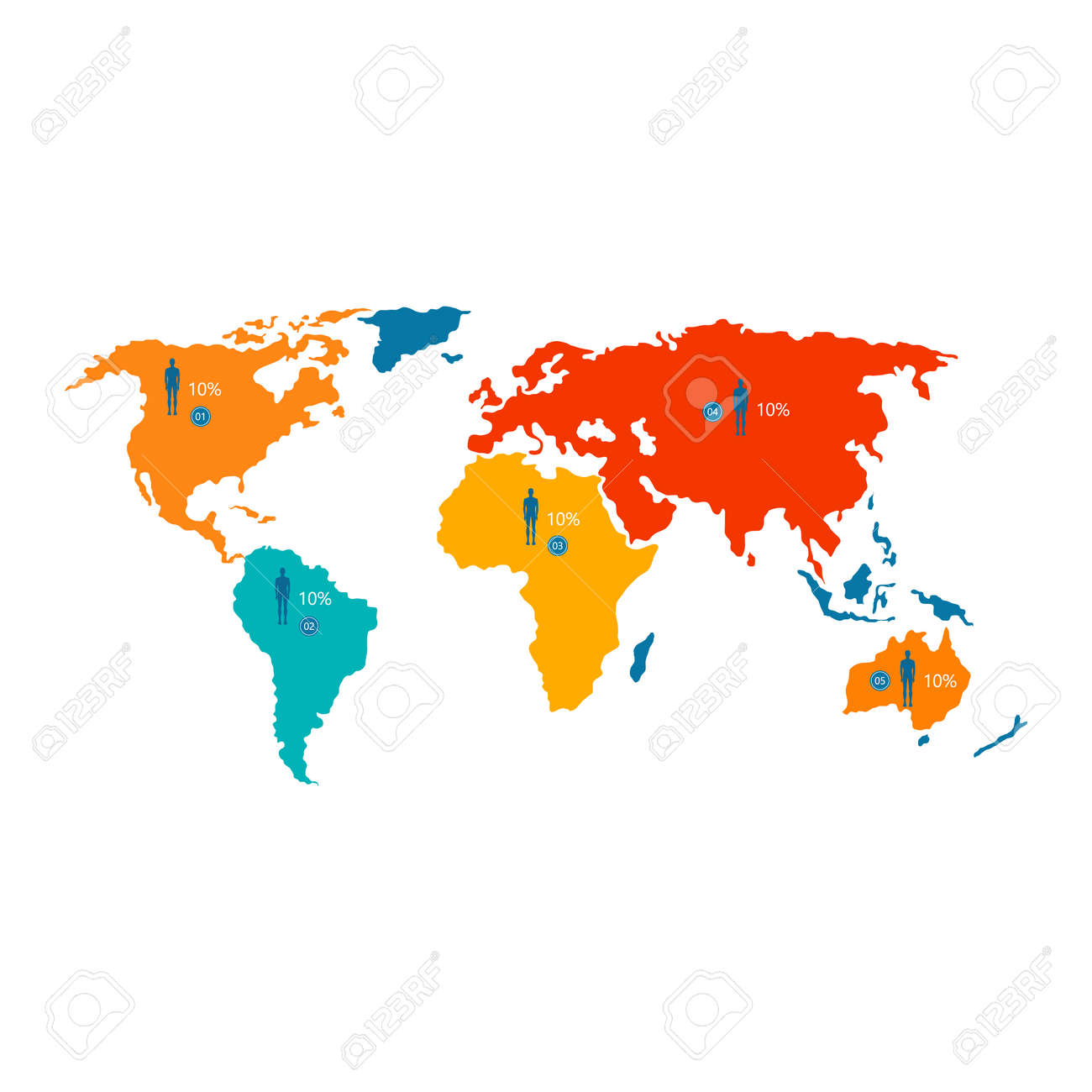 World map with colorful statistical data about population and vector world map with colorful statistical data about population and percentage isolated cartoon flat vector illustration on white background gumiabroncs Images