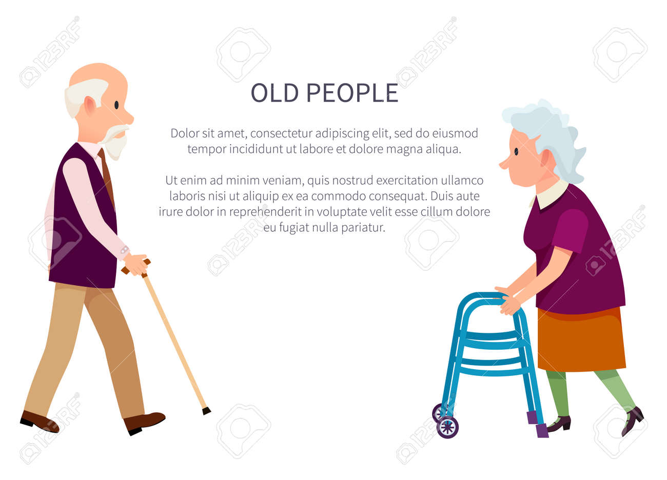 Old people banner with grandpa holding walking stick and grandma with helping walkers vector illustrations isolated on white. Retired people in cartoon style - 100049779