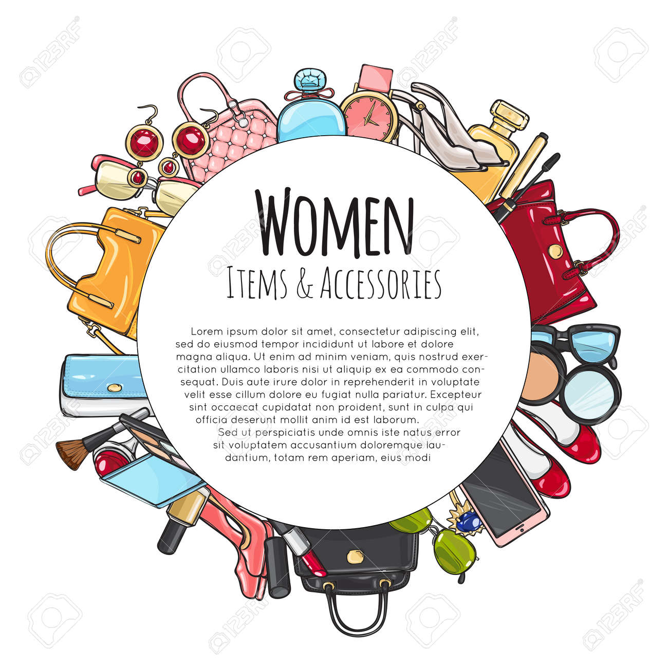 Women Items and Accessories Round Frame. Cosmetics. - 100218577