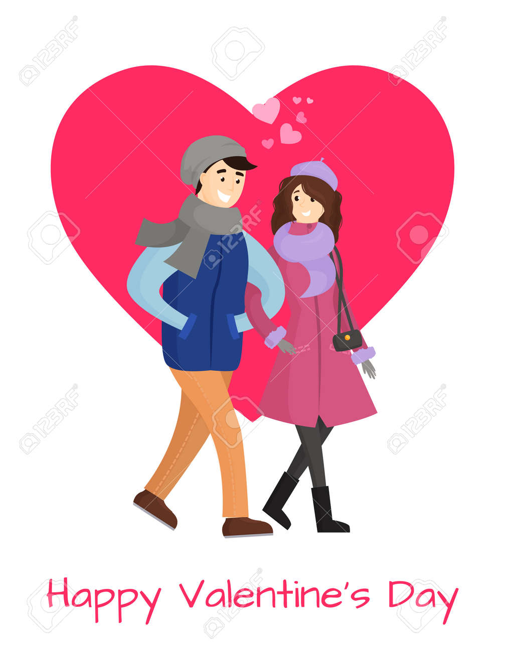Happy Valentines Day Poster Young Couple In Winter Cloth Vector