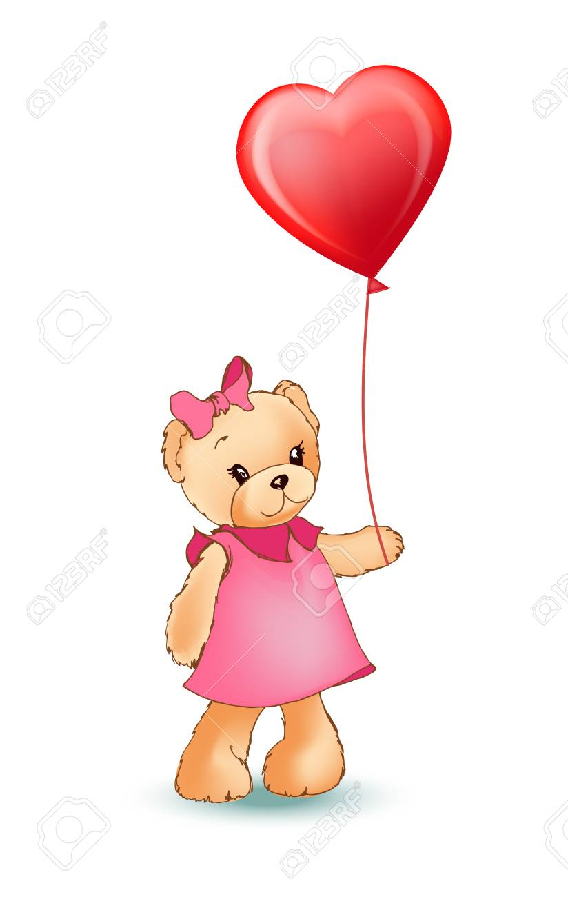 Female Teddy Bear Holding Red Balloon In Shape Of Heart In Paws