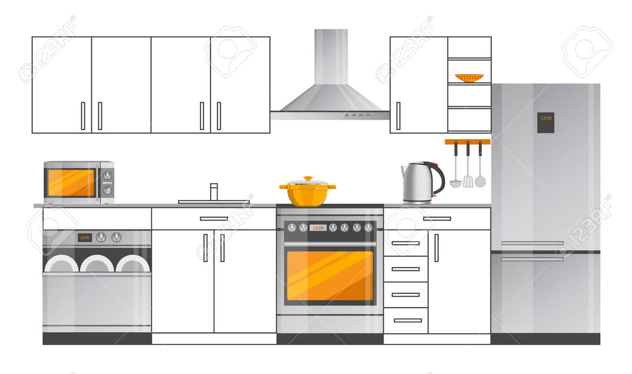 Kitchen Interior Design Template With Appliances Royalty Free ...