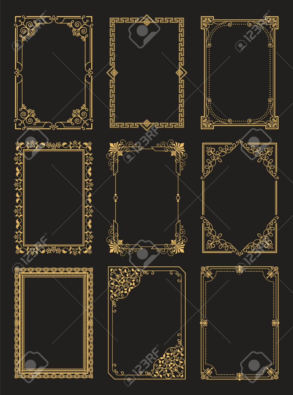 Vintage Frames Collection Golden Borders Isolated - 101965601