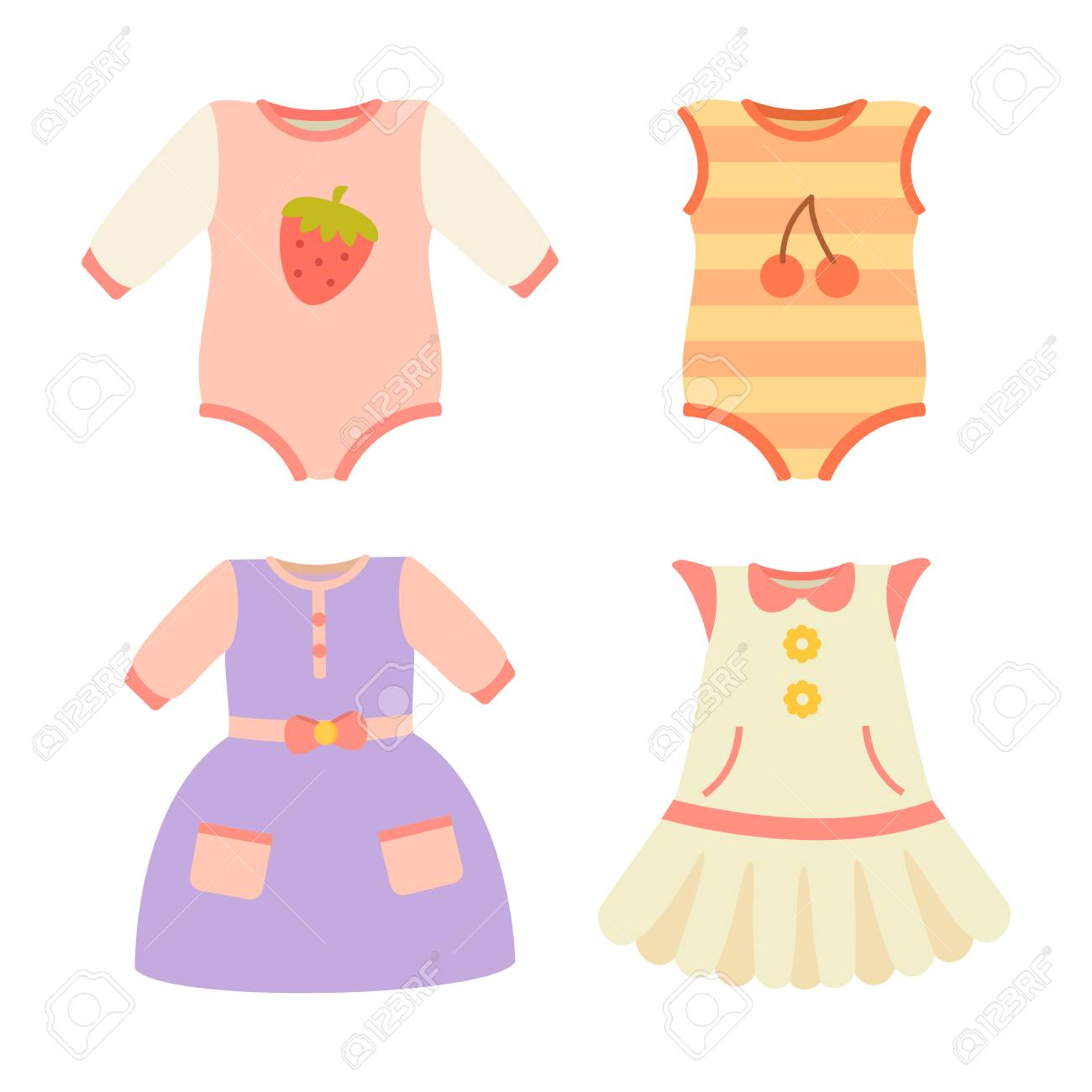 Baby Clothes Collection Dress Vector Illustration Royalty Free