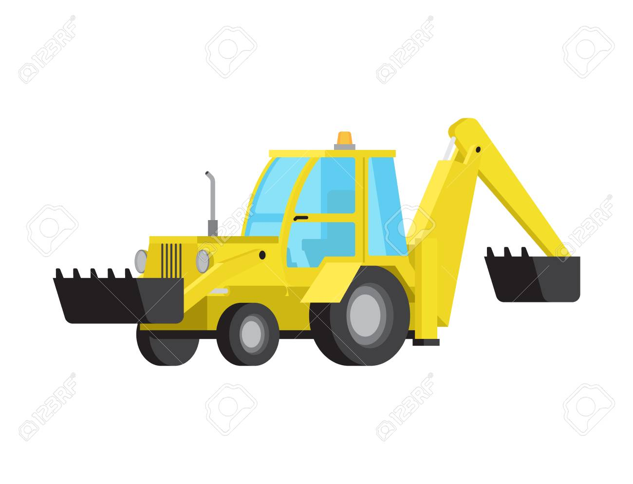 Loader with Excavator Bucket Flat Vector Isolated - 103227929