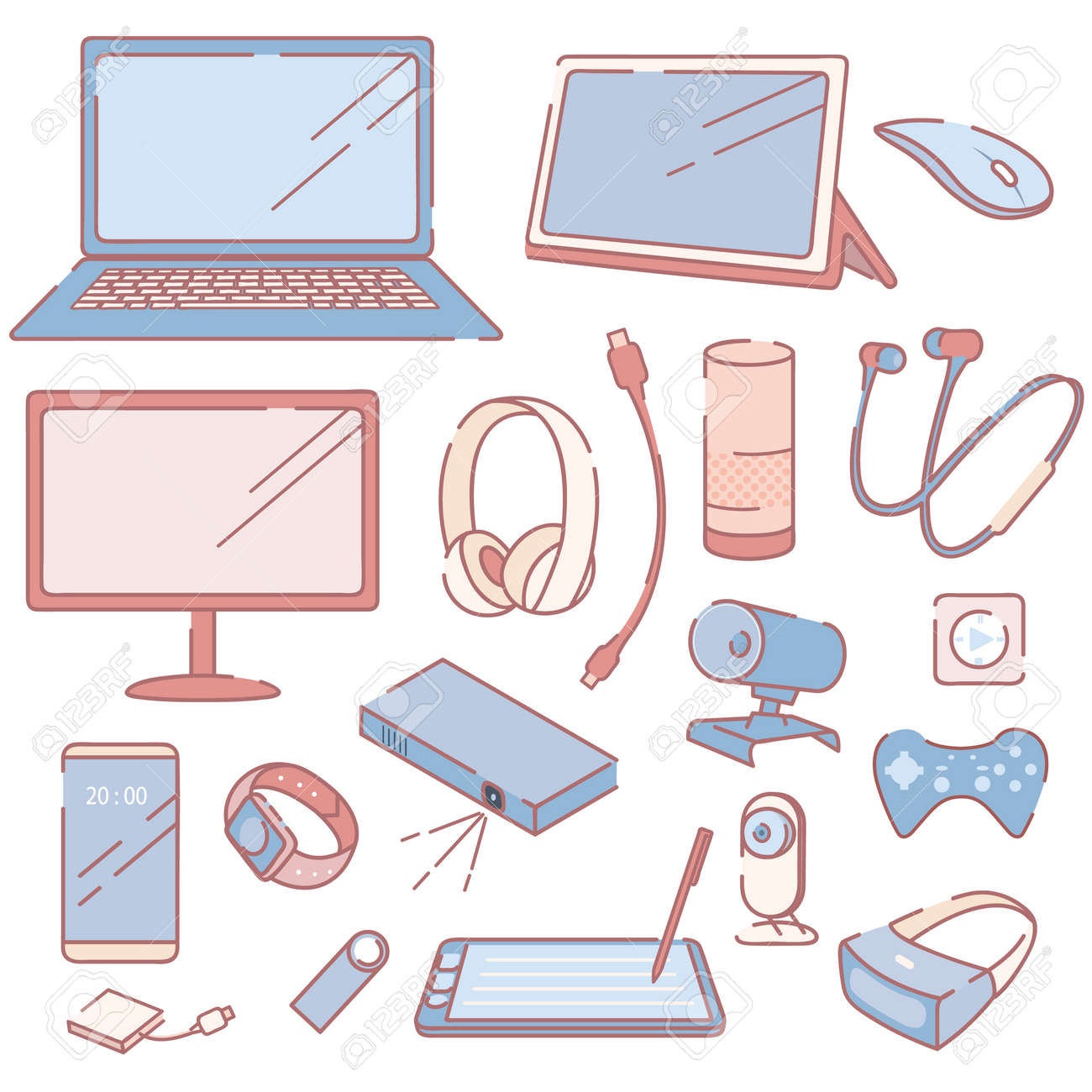 Modern Electronic Devices and Accessories Set - 103896803