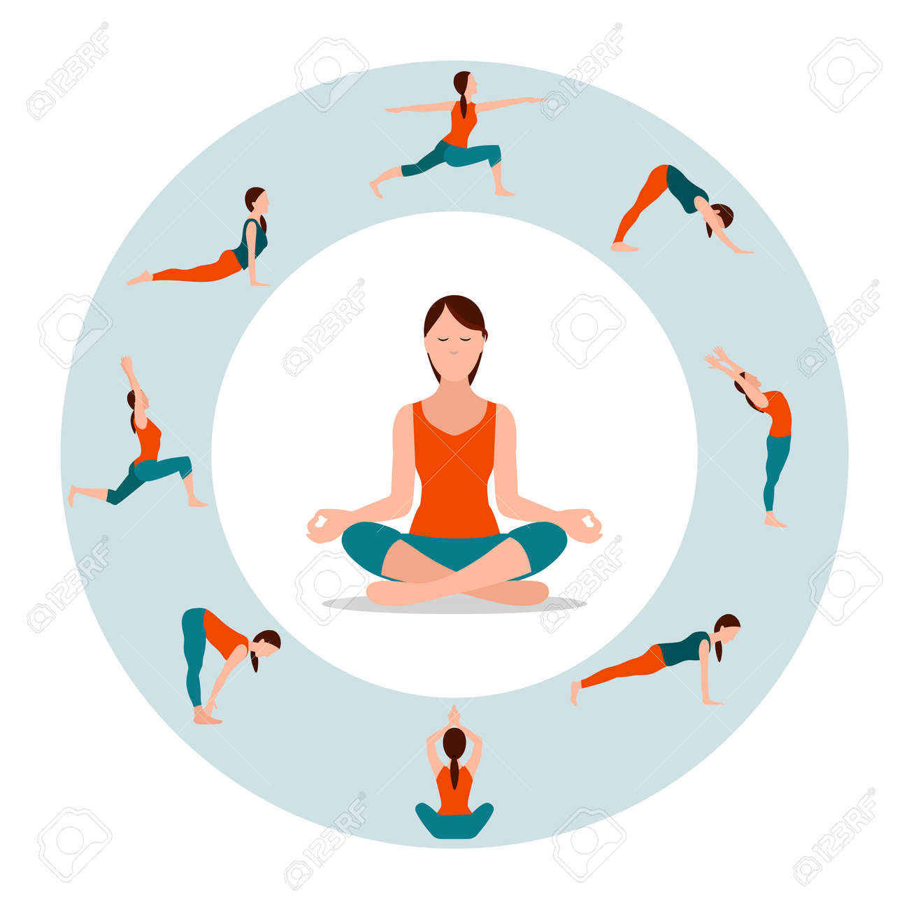 Circle with Female Icons in Different Yoga Poses - 103990256