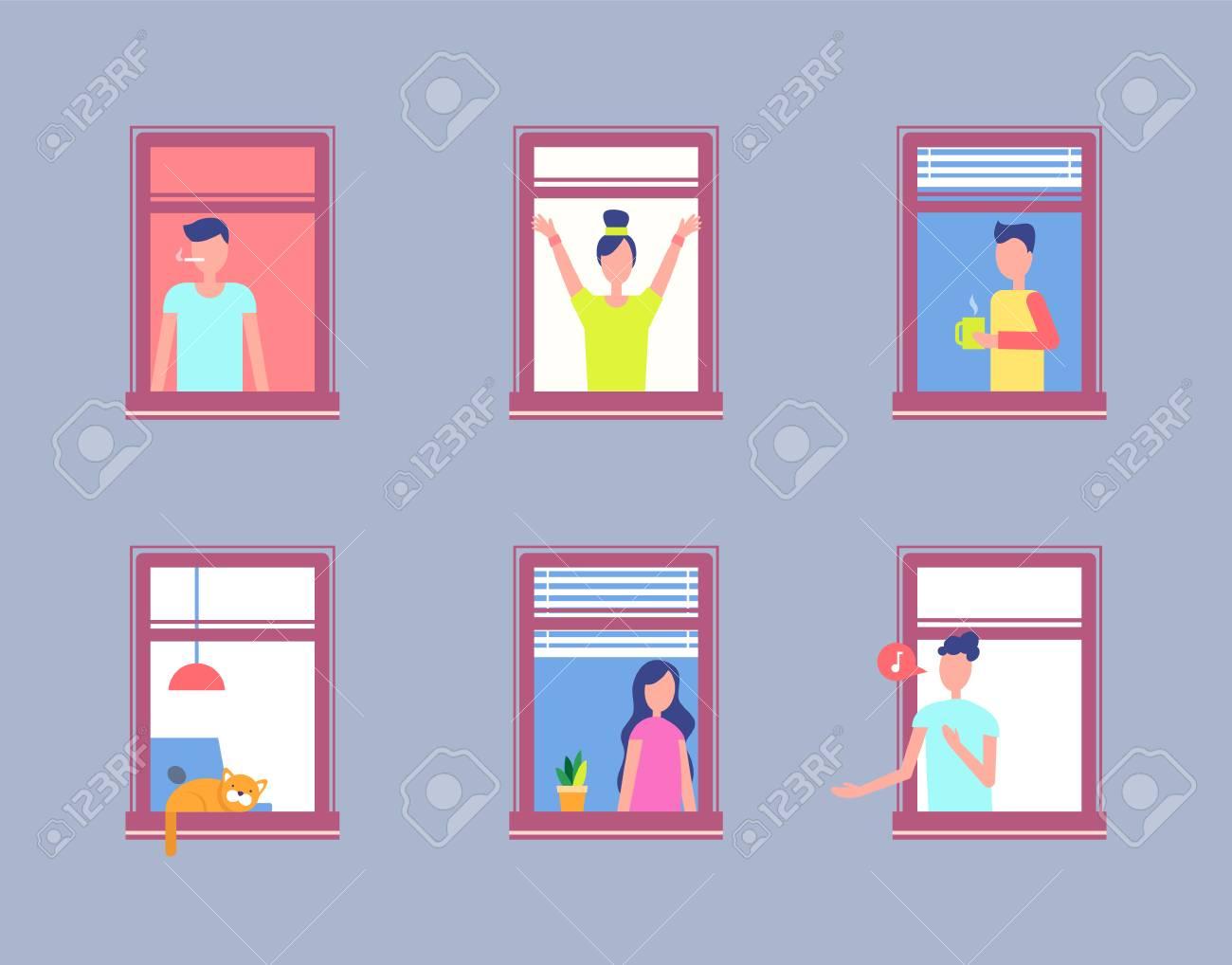Set People Open Window. Men and Women Neighbours - 104041422