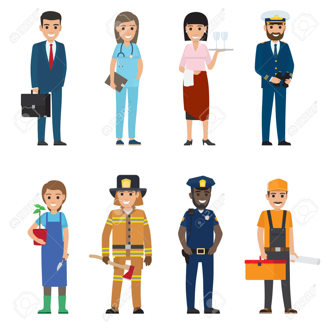Professions people vector icons set. Different profession woman and man cartoon characters in uniform and with implements isolated on white. Occupations flat illustration for labor day, job concepts - 105602995