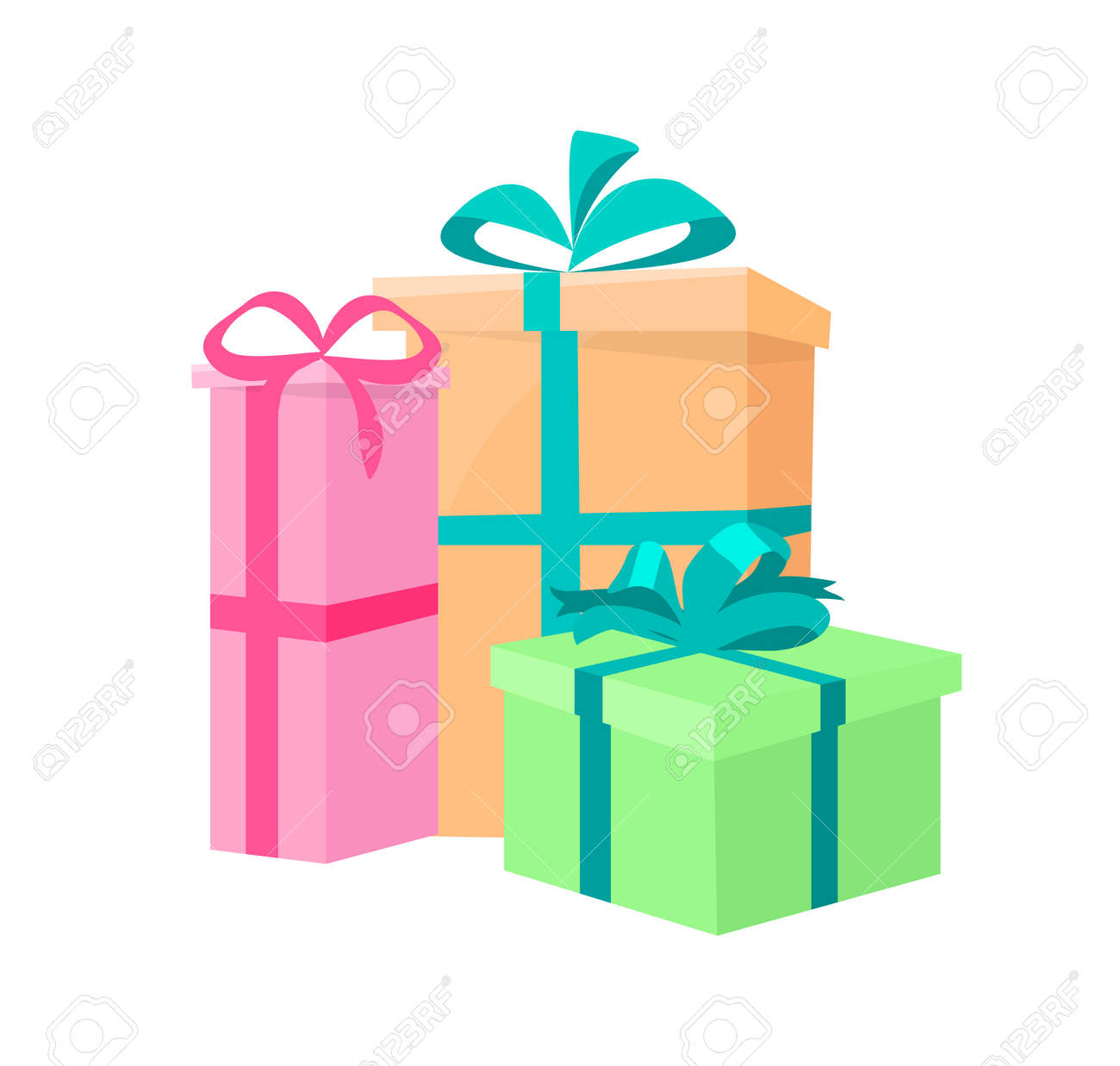 Presents Packed Gifts Shipping Containers Vector Wrapped Gift