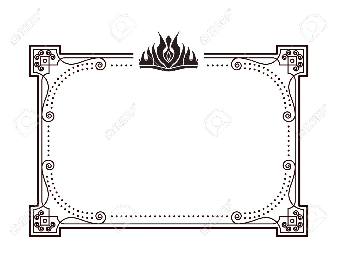 Frame for important documents and certificates with crown. Rectangular framework decorated with crown in gothic style monochrome vector illustration. - 105603435