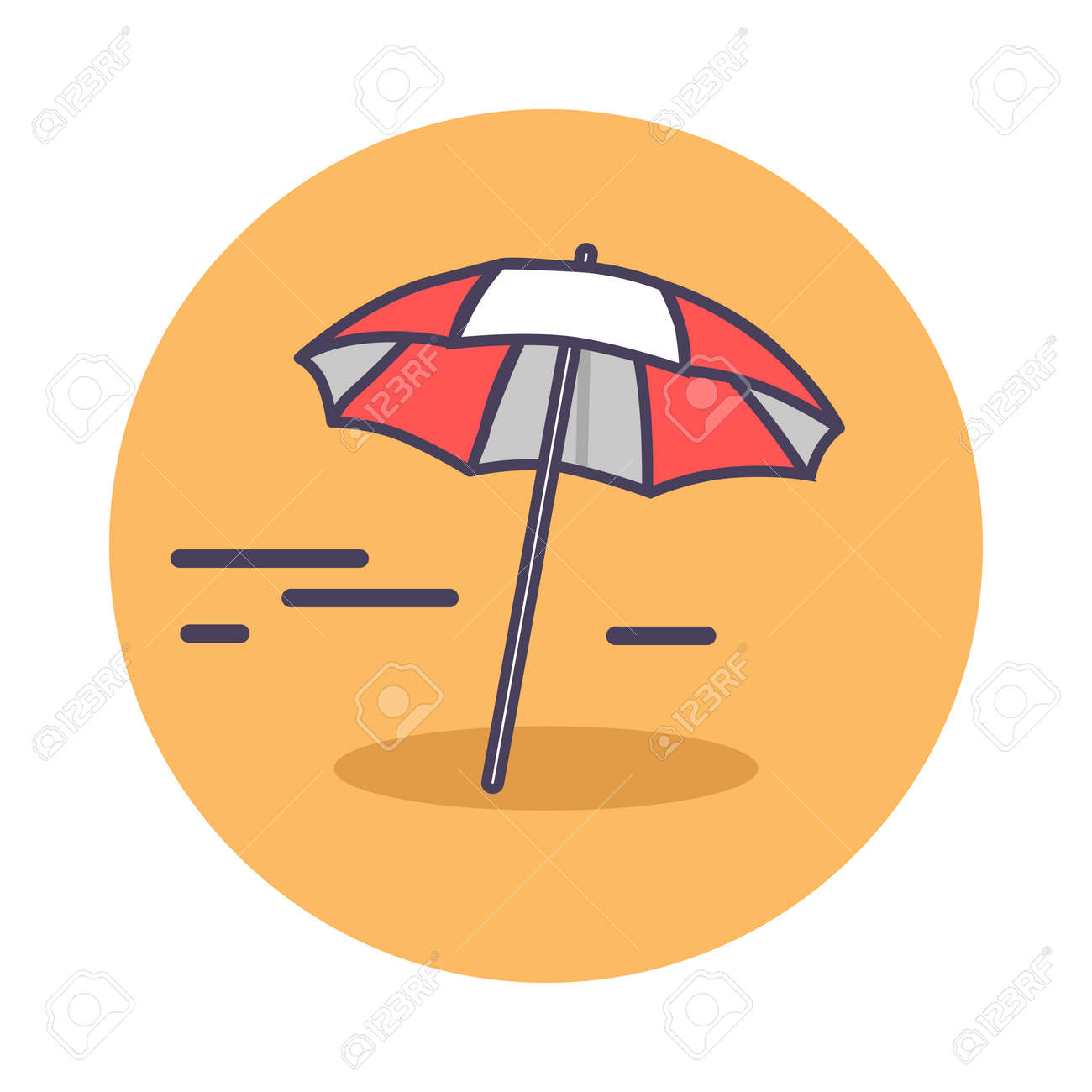 e998e725ba Circle icon depicting sandy beach. Vector illustration of red-and-white..