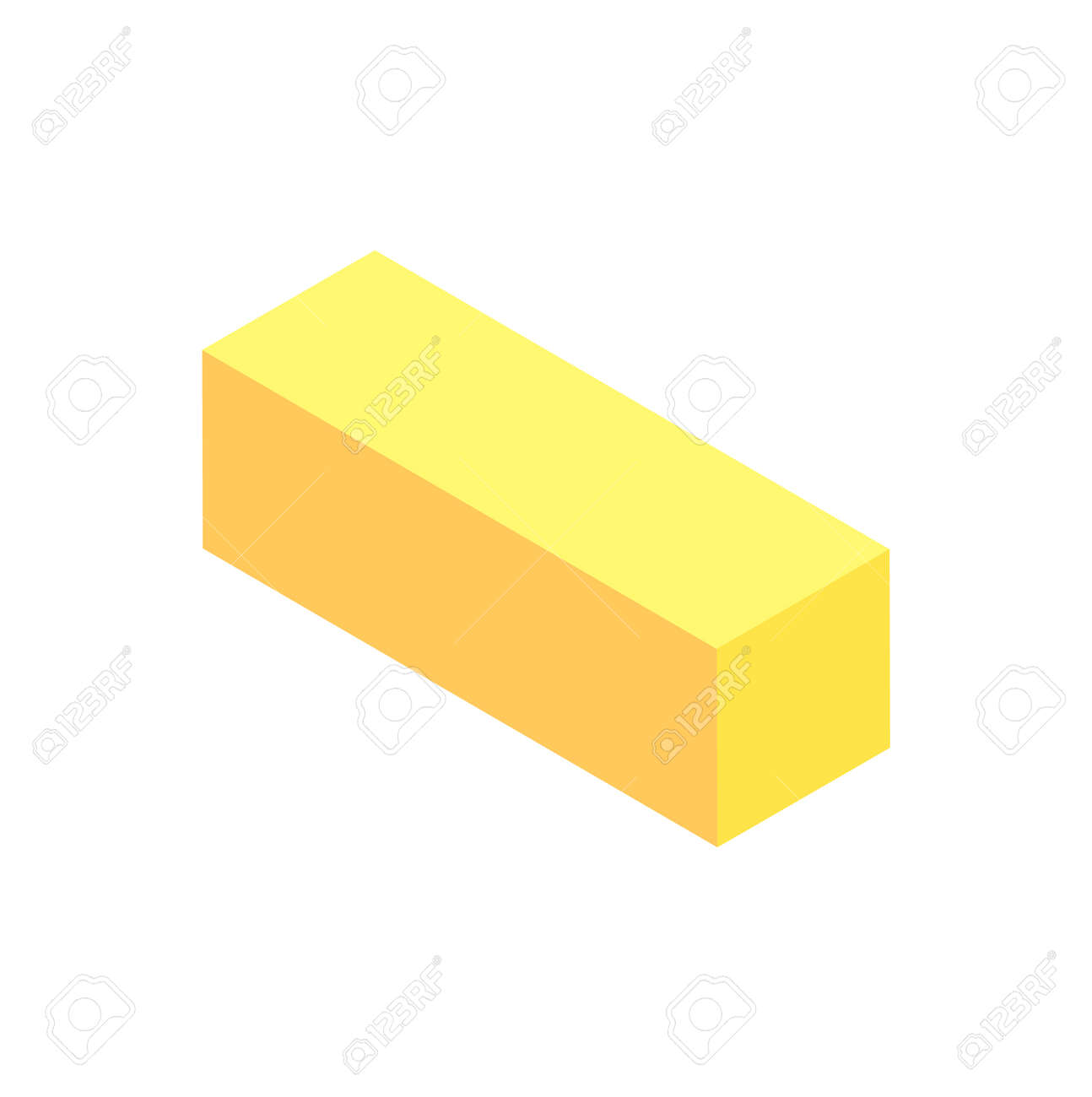 Vertical Geometric Figure Template Yellow Cuboid Isolated On
