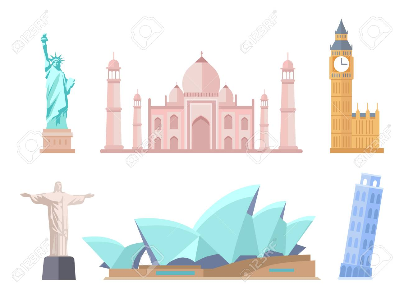 World Famous Sights of Modern and Old Styles Set - 106315661