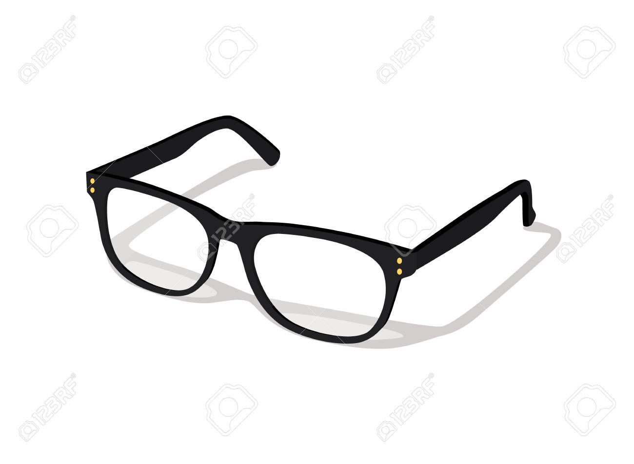 Modern glasses icon isolated on white background vector illustration of elegance spectacles in black frame, eyeglasses with lense, eyewear model - 105540727