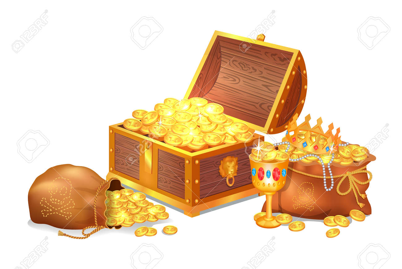 Old shiny treasures in wooden chest and silk sacks. Gold crown, ancient coins, fancy goblet and pearl beads isolated cartoon vector illustration - 105541432