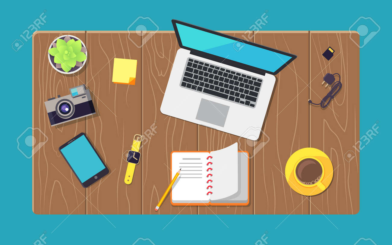 Wooden table and various devices set color banner vector illustration of laptop, smartphone with charger, camera near plant and yellow smart watches - 112350686