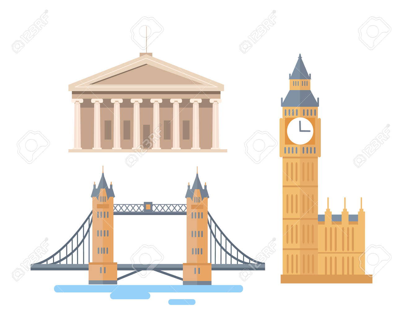 World famous attractions from England or America. Tall Big Ben, large London Tower Bridge and Washington Capitol entrance vector illustrations set. - 112004236