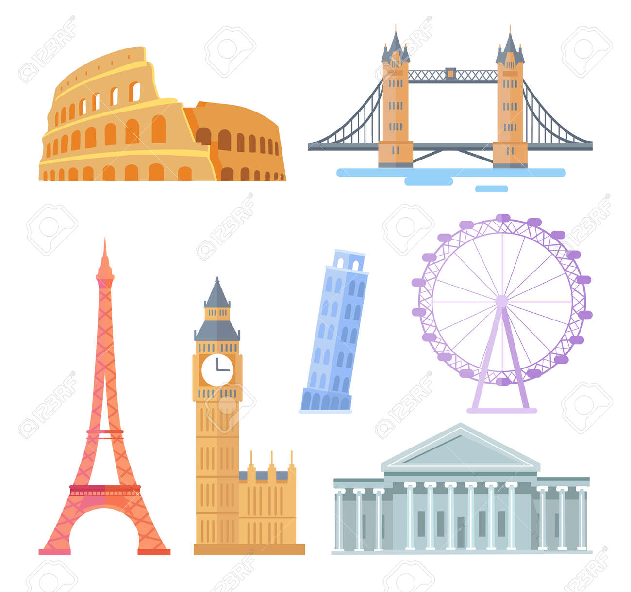 Popular world touristic architectural sights set. Famous attractions and travel destinations. Buildings with statues isolated vector illustrations. - 112004254